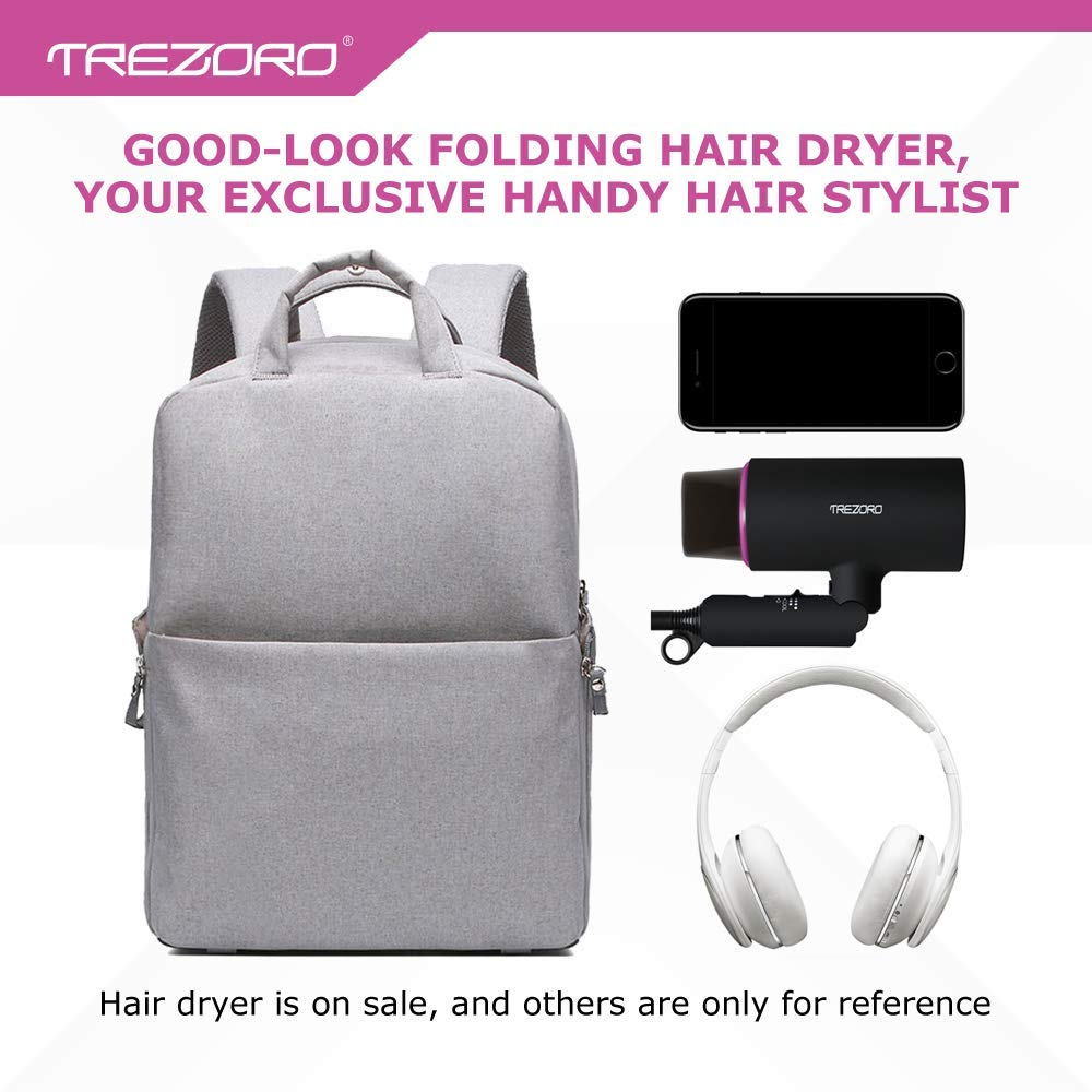 Professional Ionic Portable Folding Hair Dryer, Best 1500W Ceramic Tourmaline Blow Dryer with comb attachment, Compact Small Size Lightweight for Travel, Quiet Mini Hairdryer – Deluxe Soft Touch Body by TREZORO (Image #7)