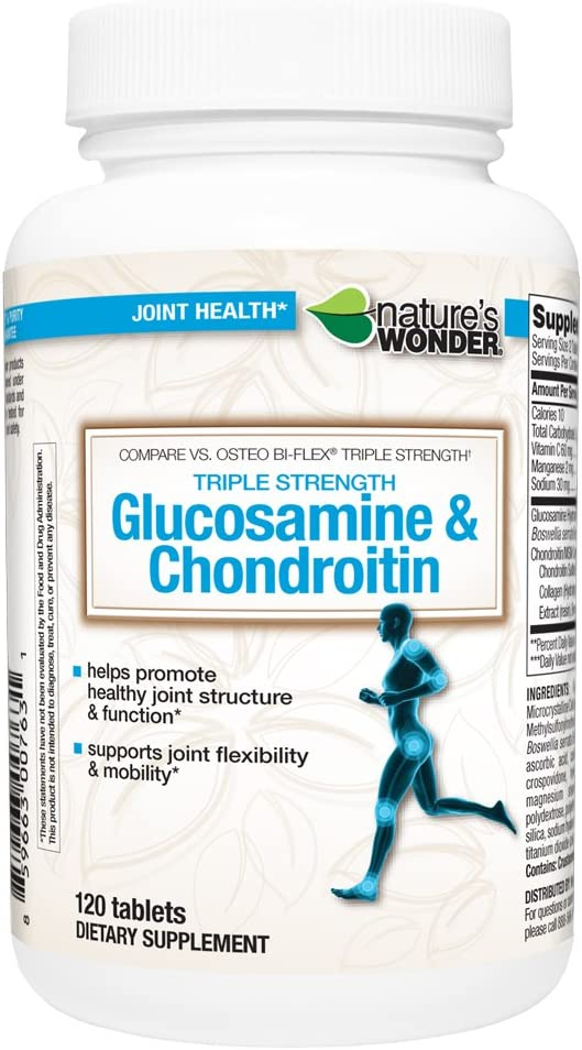 Nature's Wonder Glucosamine Chondroitin Triple Strength with MSM Tablets, 120 Count, Compare vs. Osteo Bi-Flex® Triple Strength