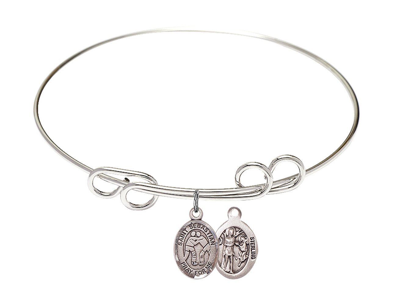 St. Sebastian Wrestling Charm On A 8 Inch Round Double Loop Bangle Bracelet by Catholic Saint Medals