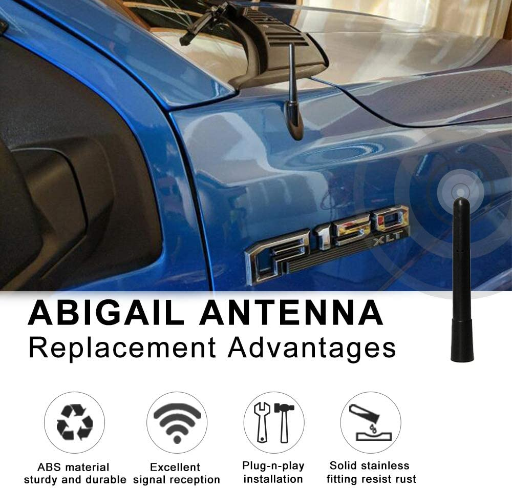Antenna Replacement for Dodge RAM /& Ford F150 F250 F350 Super Duty Ford Raptor Trucks 3.8 inches short antenna Designed for Optimized FM//AM Reception