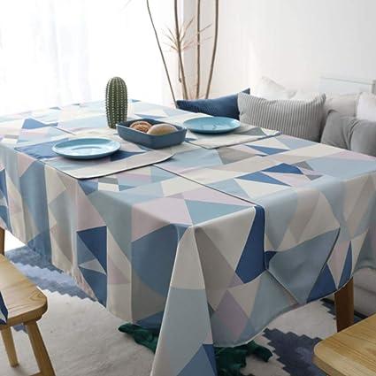 GZ-tablecloth Mantel Redondo nórdico Resistente al Agua Redondo Mantel Rectangular Mesa de Estar Sala