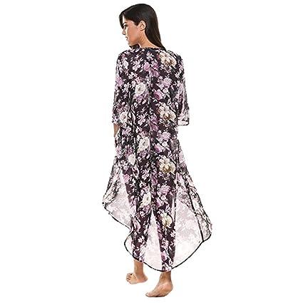 ❤ Amlaiworld Cárdigan de Kimono largo floral de gasa de ...