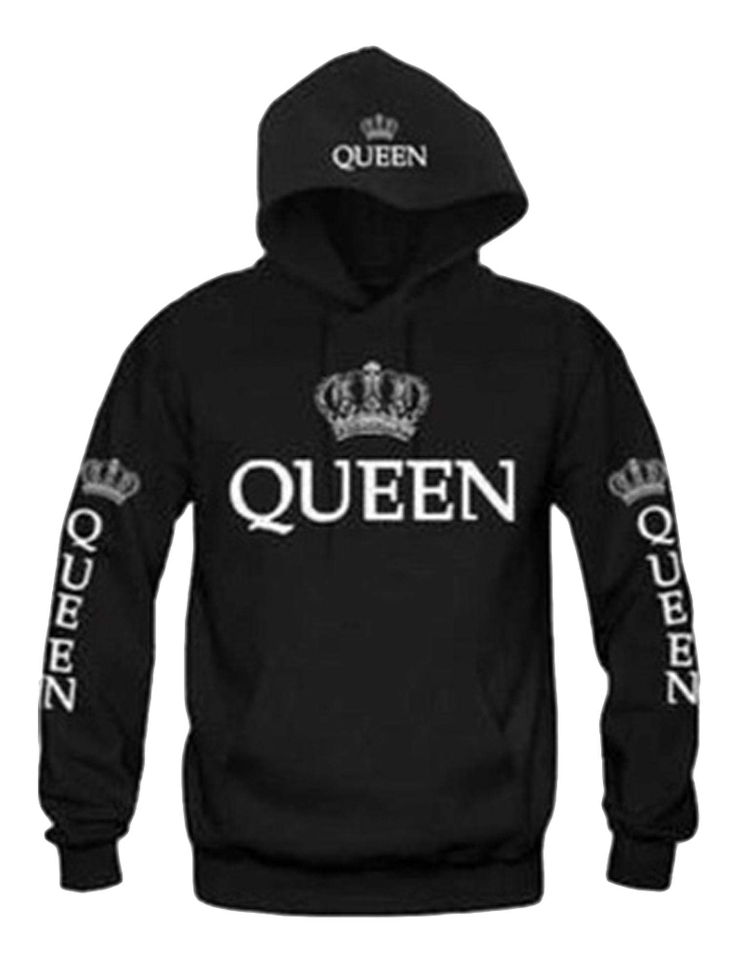 lazinem Neudas Unisex Casual Hooded Neck Long Sleeve Letter Print Front Pocket Hoodie Sweater Fashion Hoodies Black