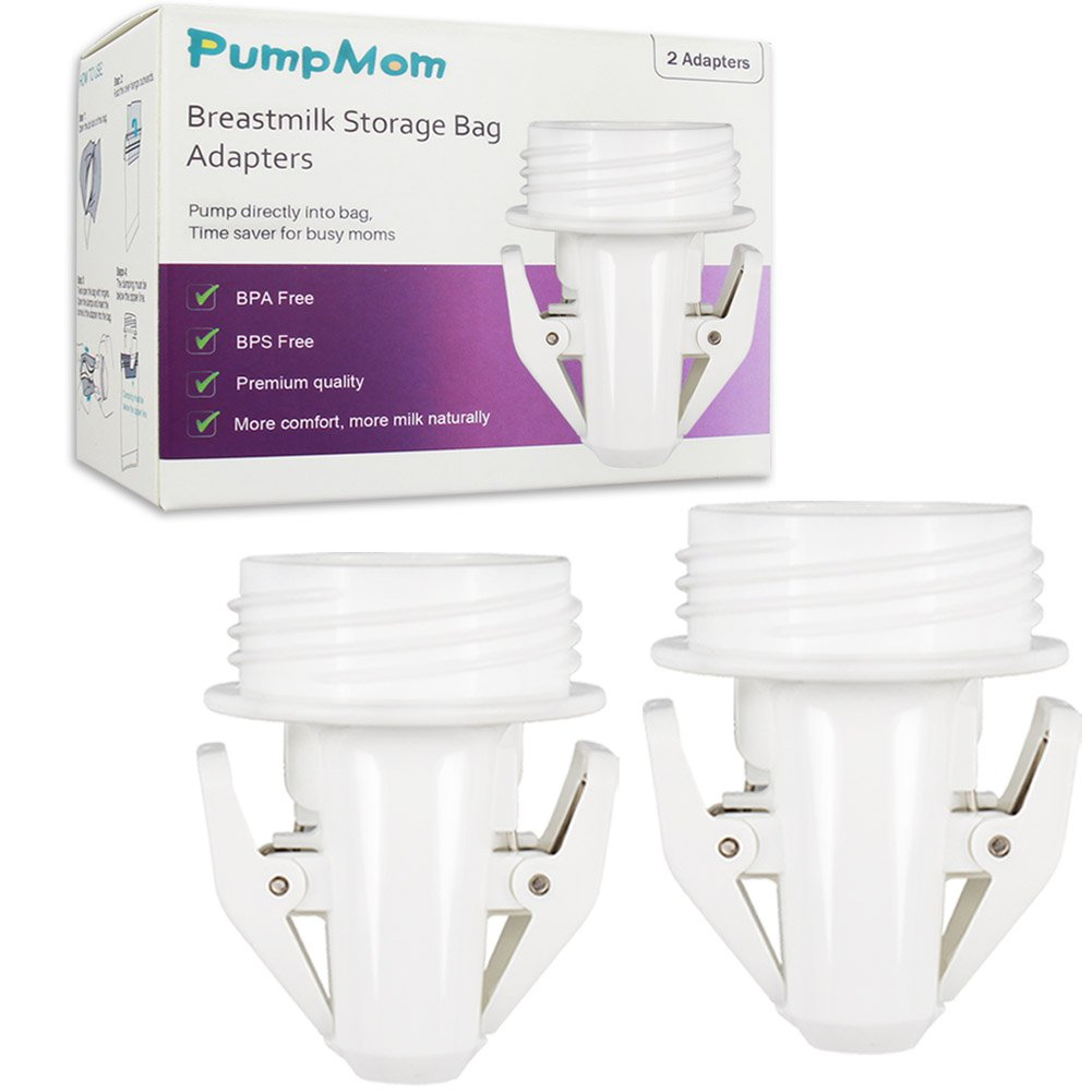 Breastmilk Storage Bag Adapters for Spectra S1 S2 Pumps, Avent Comfort Wide Mouth Flange Pump to Use with Lansinoh and Nuk Breastmilk Storage Bags by PumpMom