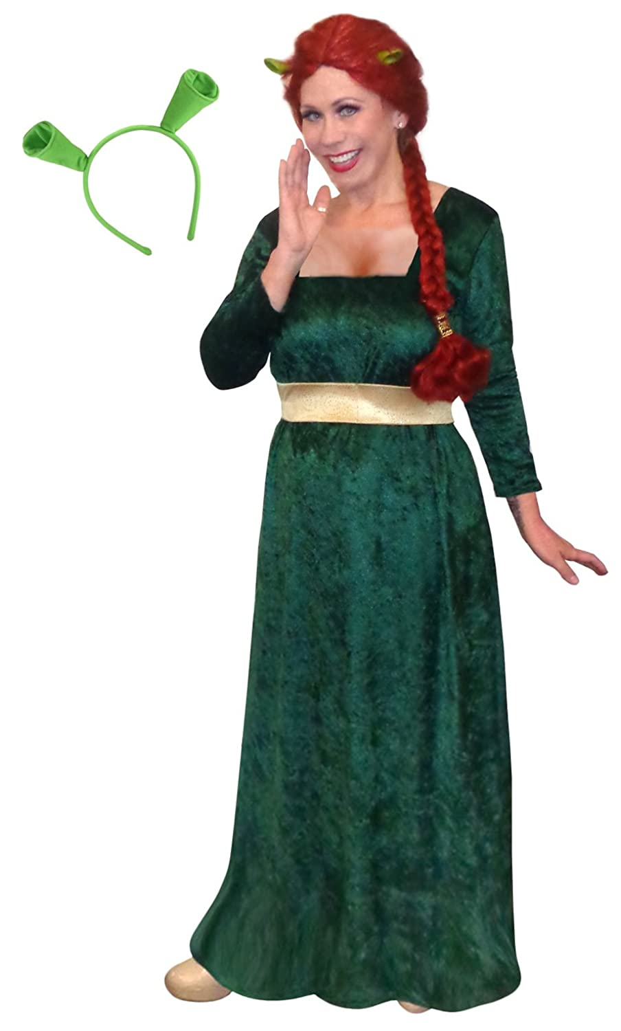 amazoncom womens princess fiona shrek plus size supersize halloween costume dress ears clothing - Green Halloween Dress