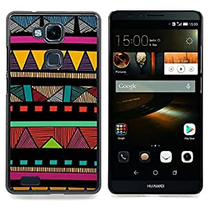 For HUAWEI Ascend Mate 7 - Indian Native American Colorful Pattern Case Cover Protection Design Ultra Slim Snap on Hard Plastic - God Garden -