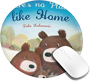 Mouse Pad No Place Like Home Gaming Mousepad Non-Slip Rubber Gaming Mouse Pad Round Mouse Pads with Stitched Edge