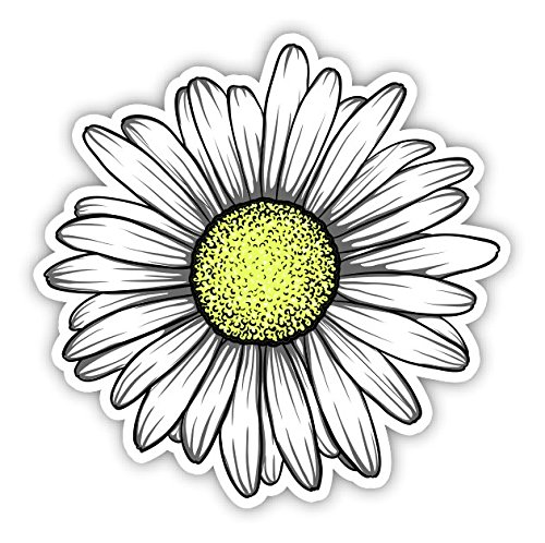 Daisy Flower Sticker for Car Truck Windows Laptop Any Smooth Surface Waterproof (White) ()