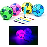 7'' Tetherball with Rope and Pump Set for Kids, Light Up Soccer Ball, Much Brighter Than Glows in Dark, Indoor Outdoor Gift f