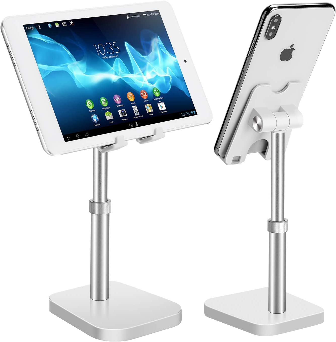 Cell Phone Stand, Phone Stand for Desk Height Adjustable, Phone Holder for Desk Compatible with All Mobile Phones,iPad(Silver)