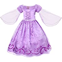 Filare Girls Princess Rapunzel Dress up Costume Halloween Party Mesh Sleeve 3-12 Years