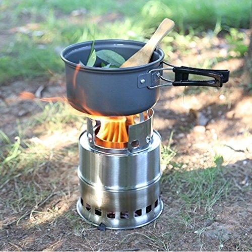 sourban Camping estufa compacta estufa de combustión de madera Backpacking ligero estufa de acero inoxidable herramienta: Amazon.es: Jardín