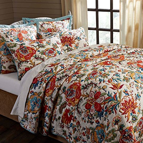 1 Piece Green Orange Floral King Quilt, French Country Shabby Chic Motif Theme Bedding, Flower Pattern Southwestern India Reversible Solid Turquoise Echo Stitching Flowers Leaves, Cotton by WA