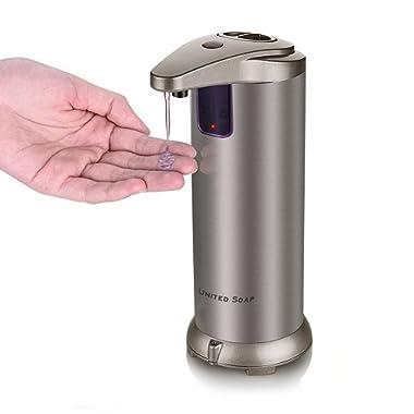 United Automatic Soap Dispenser, Premium Touchless Dispenser, Fingerprint Resistant Stainless Steel Autosoap Dispenser for Bathroom, Auto Hand Sanitizer - Dish Autosoap for Kitchen