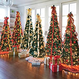 BrylaneHome Flat-to-Fabulous Fully Decorated, Pre-Lit 6-Ft. Christmas Tree 2