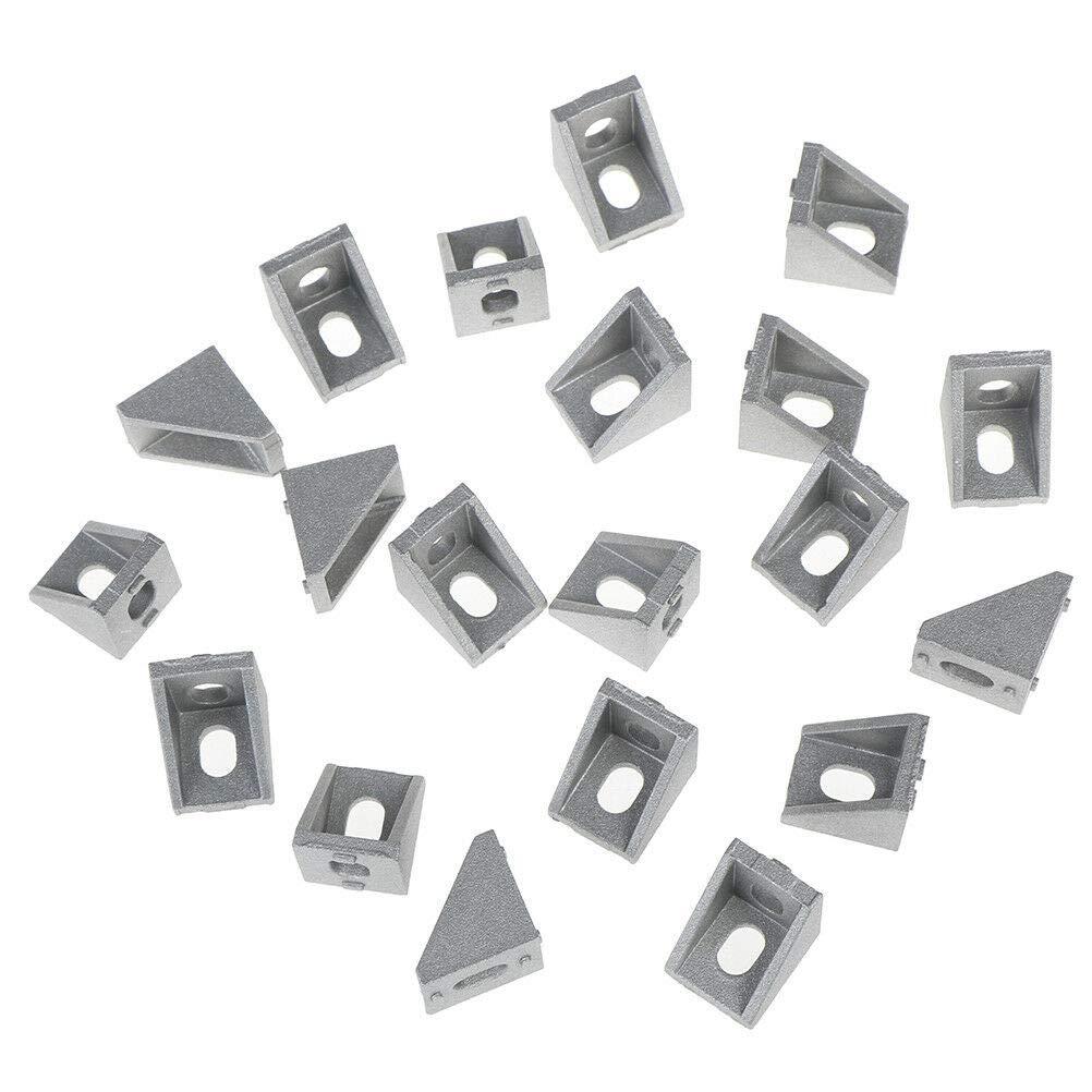 WOVELOT 20Pcs 2020 /ángulo De Montaje en Esquina Aluminio 20 X 20 L Conector Soporte Sujetador Match Use 2020 Industrial Aluminium Profile