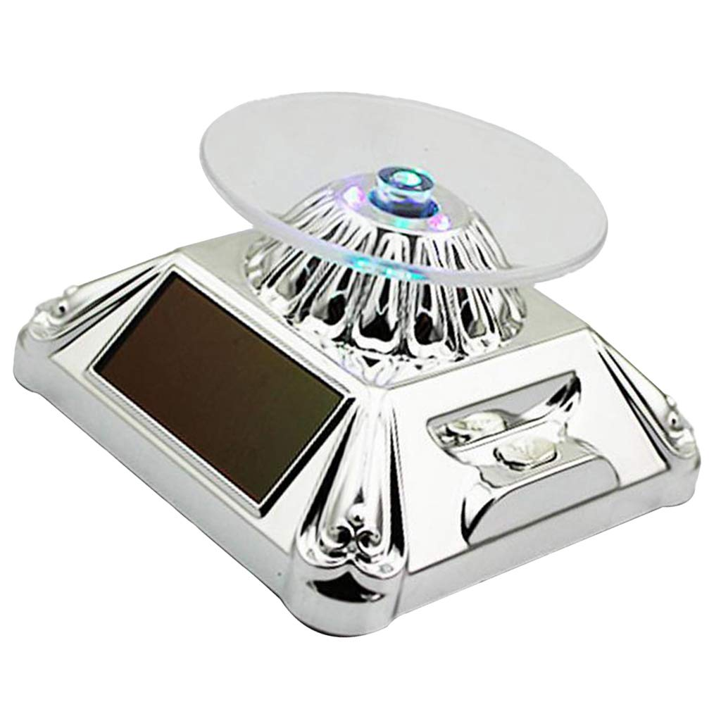 Almencla 360 Degree Rotating Display Stand Solar LED for Jewelry Ring Silver