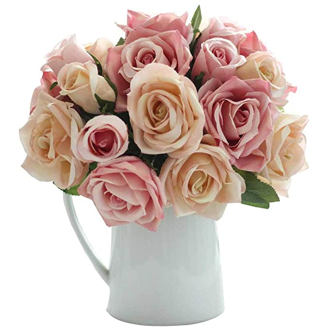 Amazon.com: Artificial Flowers, Fake Flowers Silk Artificial Roses 9 ...