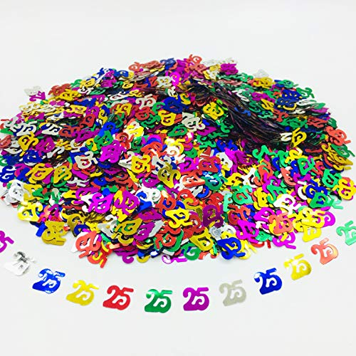 25 Confetti for 25th Birthday Party Decorations or Wedding/Anniversary/Events-1.5 oz (Multi-Color, 25)]()