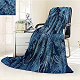 Flannel Fleece Luxury Blanket texture of ice hoarfrost on window in winter Plush Microfiber Solid Blanket(90''x 70'')