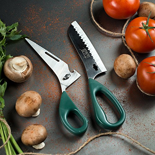 Heavy Duty Multipurpose Kitchen Shears  BONUS Blade  Finger Protectors  Premium Cooking Scissors For