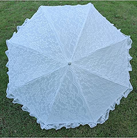Aircee (TM) White/Beige Adults Large Battenburg Lace Parasol Aluminum Wedding Bridal Party Decoration Props Umbrella (Theatrical Umbrella)
