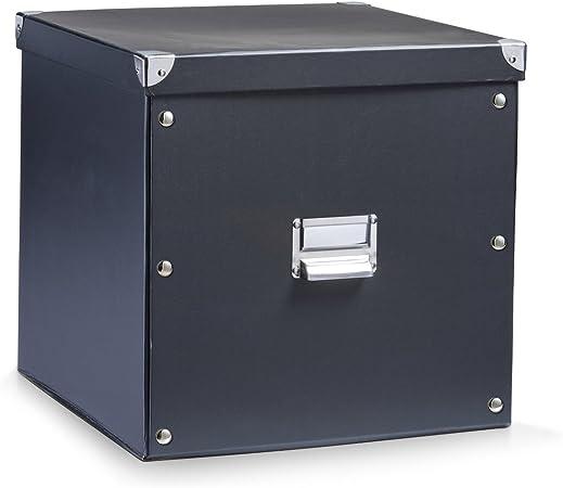 Zeller 17635 Caja de almacenaje de cartón Negro (Schwarz) 33.5 x ...