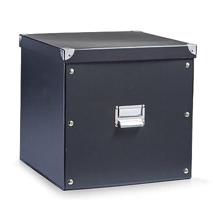 Zeller 17635 Caja de almacenaje de cartón Negro (Schwarz) 33.5 x 33 x 32