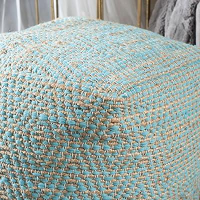Ada Hand Woven Aqua Fabric Pouf