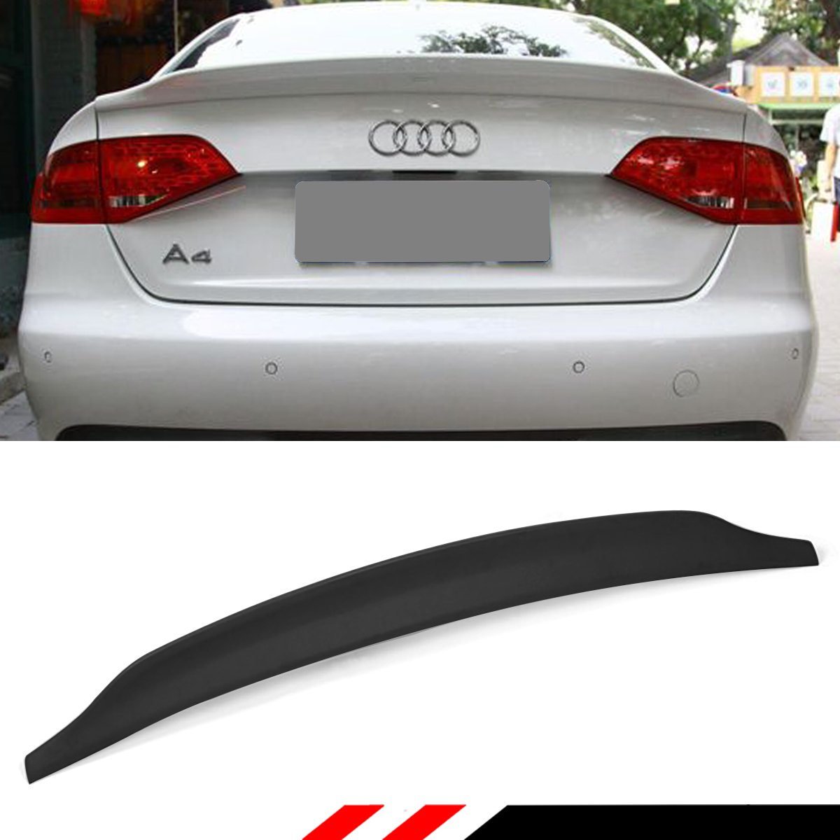 Cuztom Tuning Fits for 2009-2015 Audi A4 S4 B8 Cat Style Polyurethane PU  Primered Trunk Lid Spoiler Wing Duck Lid