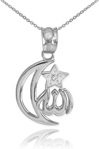 "Fine 16+2/"" Sterling Silver Crescent Moon CZ Stone Pendant Necklace Free Gift Box"