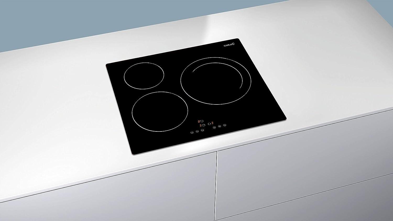 CATA IB 6303 BK (Integrado, con Placa de inducción, Negro, 1200 W, Alrededor, 16 cm), 2300 W, Vidrio, Acero Inoxidable