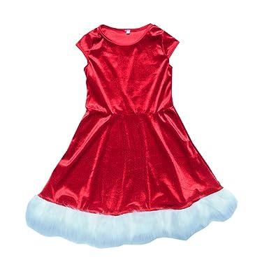 c30ad276b255c Carolilly Chic Robe de Noël Mère et Fille Rouge Velours Blanc au Bord ...