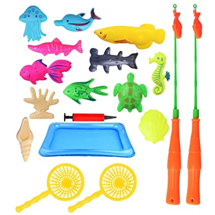 Outdoor Fun & Sports 18pcs Magnetic Bathtub Fun Game Inflatable Fish Kids Puzzle Interaction Toy Set