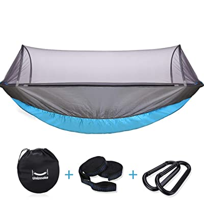 Unizooke Single & Double Hammock with Mosquito Net, Portable Double Camping Adjustable Hammocks, Lightweight for Hiking, Travel, Backpacking, Beach, Yard Gear with Tree Strap: Kitchen & Dining