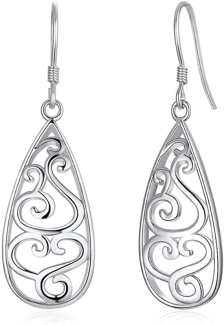 ChicSilver Pendientes Nudo Celta para Mujeres Aretes Corazón/Triángulo Plata de Ley 925 Pendientes Clavos Hipoalérgicos para Muchachas Joyería Moderna Irlandesa