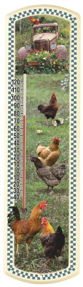 Heritage America by MORCO 375CK-B Chicken-Blue Border Outdoor or Indoor Thermometer, 20-Inch