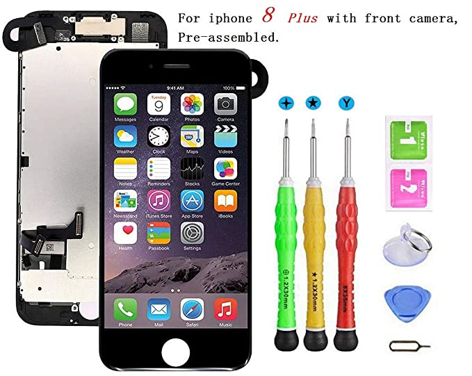 new product 1d140 050fd Screen Replacement Compatible with iPhone 8 Plus Full Assembly - LCD 3D  Touch Display Digitizer with Sensors and Front Camera, Fit Compatible with  ...