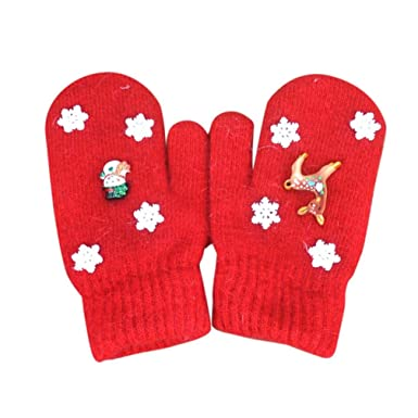 child infant christmas gloves palarn girls boys thicken hot cute deer snowflake winter warm mittens - Christmas Mittens