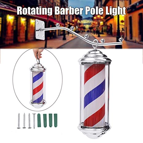 Black LED Barber Pole Rotating lluminating Red White Blue Stripes for Hair Salon Barber Sign Light Wall Mountable Lamp Size : 8026cm