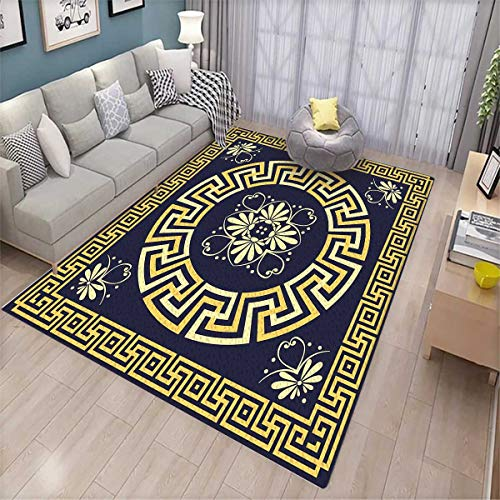 Greek Key Extra Large Area Rug Meander with Spring Inspired Floral Detail Rich and Retro Entangled Maze Bath Mat for tub Dark Blue Yellow 10' Retro Desk Fan