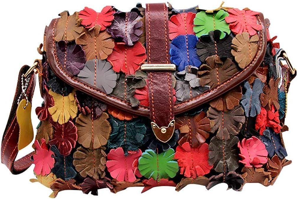 Genuine Leather Colorful Blocks Patchwork Women/'s Vintage Shoulder Messenger Bag