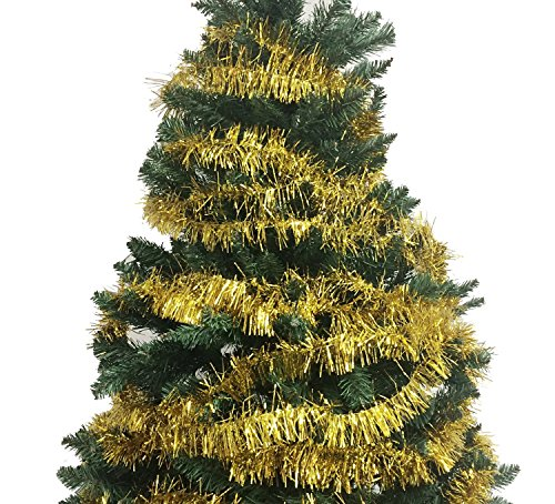 40 Ft x 2.5 Inch Classic Tinsel Christmas Garland - Gold (Garland Gold Tinsel)