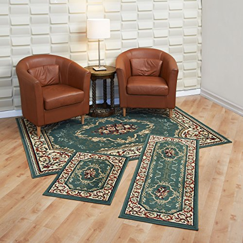 Achim Home Furnishings Capri 3-Piece Rug Set, Rose Garden