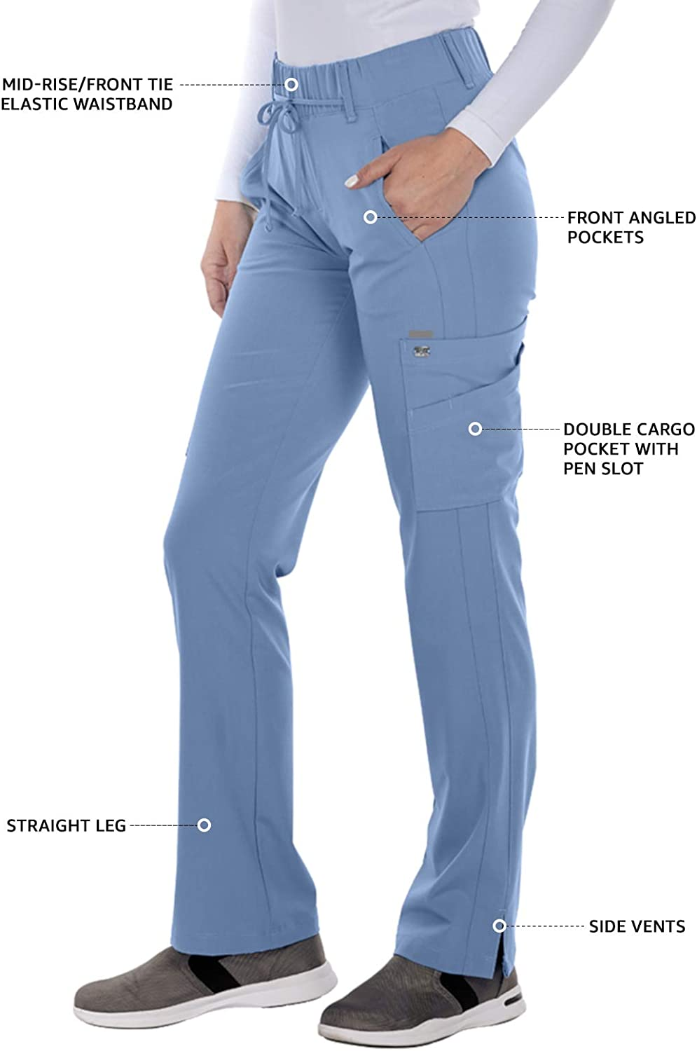 Barco Greys Anatomy Signature Olivia Pant for Women Super-Soft Medical Scrub Pant
