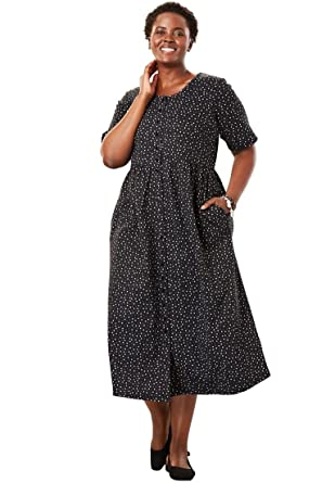 Only Necessities Women\'s Plus Size Dress with Button Front, Empire ...