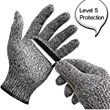 WISLIFE Cut Resistant Gloves ;Level 5 Protection, Food Grade,EN388 Certified, Safty Gloves for Hand protection and yard-work, Kitchen Glove for Cutting and slicing,1 pair (Large)