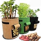 Homeself 3 Pack Potato Grow Bag, 7 Gallon Aeration Waterproof Non-woven Fabric Sweet Potato Planter, Velcro Window Vegetable Potato Peanut Growing Box Planting Bucket Pot for Nursery Garden (3 Pack)
