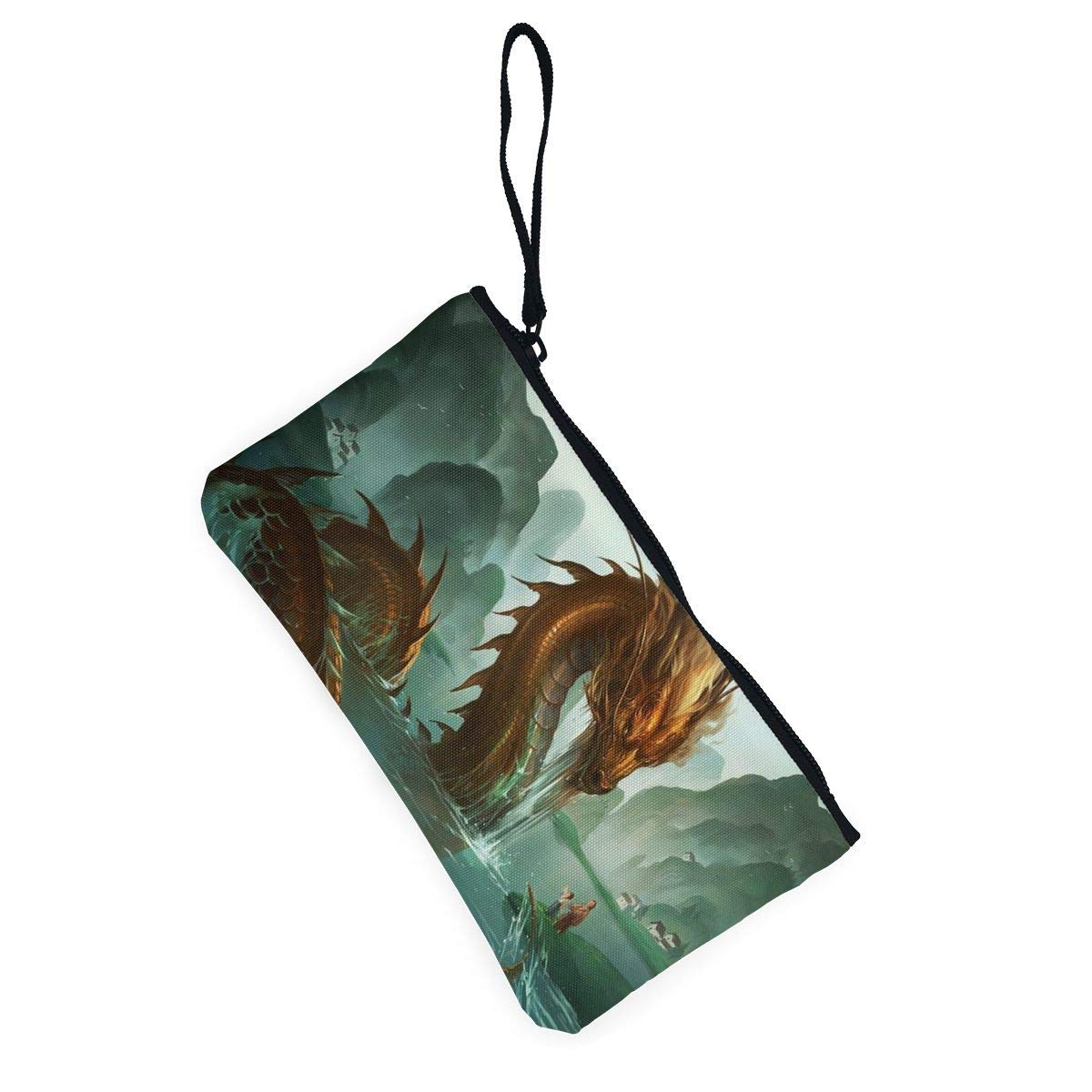 YUANSHAN Chinese Dragon in The Water Unisex Canvas Coin Purse Change Cash Bag Zipper Small Purse Wallets with Handle