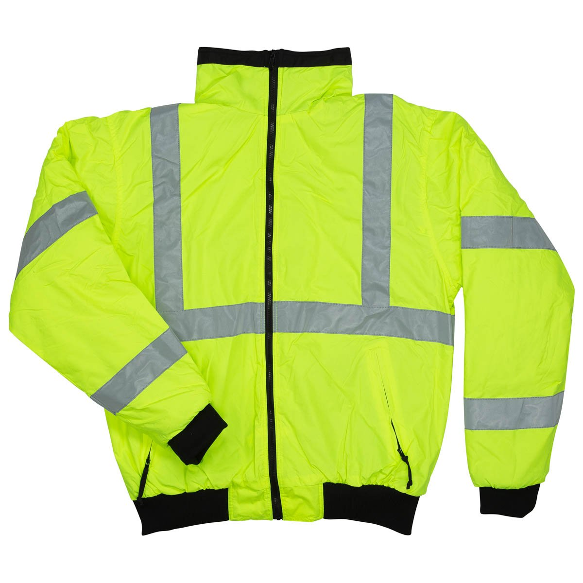North 15 Men's High Visibility Safety Bomber Jacket, Fleece Lined
